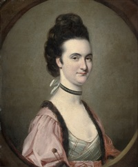 portrait of a lady in a pink robe with mink trim and a pearl choker by john russell
