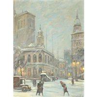 new york in snow by bela de tirefort