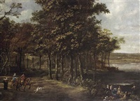 a forest landscape with an elegant company on horseback and bathers by joris van der haagen