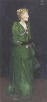 full length portrait of maggie hamilton in an emerald green dress by james guthrie