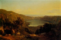view of lake nemi by john (newbott) newbolt