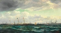 the british royal yacht is received by the danish royal yacht and vessels of the danish navy by edvard skari