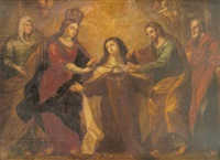 la virgen y san josé imponiendo el collar a santa teresa by vicente berdusan