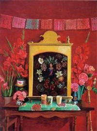 altar con muro y flores by elena climent