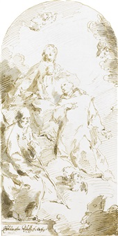 the holy family enthroned in the clouds, with a monk in adoration by pietro antonio novelli