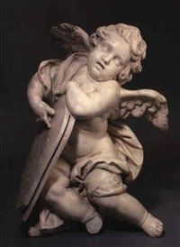 figure of a putto holding an arched tablet by antonio raggi