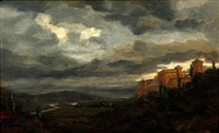 an italian landscape in evening light by janus andreas barthotin la cour