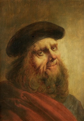 portrait of an elderly man half length in a red robe and black hat by jan van de venne