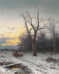 a shepherd and his flock on a path in a winter landscape by b. kreutzer
