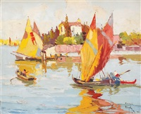 boats in the lagoon by rudolph negely