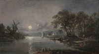 river scape in moonlight by john mundell