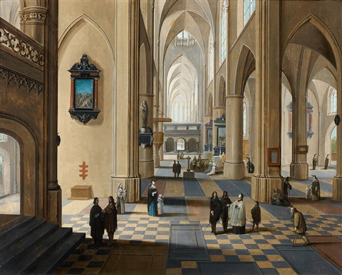 intrieur de la cathdrale danvers by peeter neeffs the elder and frans francken