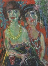 twee vrouwen in tuin by aad de haas