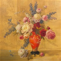 still life of peonies by alphonse t. toran