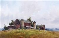 barnyard scene with figure by lowell ellsworth smith
