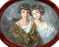 portraits de deux fillettes by josé cruz herrera