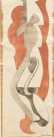 composition aux deux personnages by auguste herbin