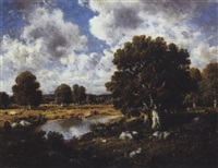 summer landscape with pond by c.e. picault