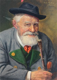 bearded man smiling and smoking a pipe by fritz müller