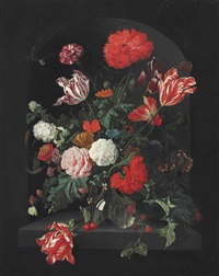 roses, parrot tulips, carnations, a sprig of wild blackberries, convolvulus, snowballs and other flowers in a glass vase, in a sculpted niche... by jan davidsz de heem