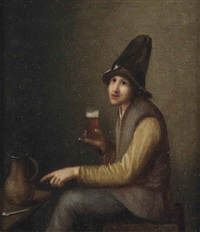 a young man holding a glass of beer, a pipe and a jug on a table by pieter harmensz verelst