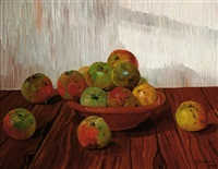 still life of an earthenware dish with apples by johannes lodeizen