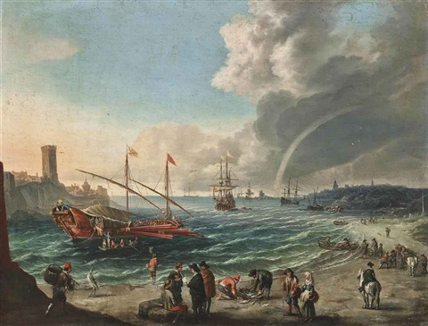 a mediterranean harbour scene with a spanish trading barge figures on the beach and shipping beyond by cornelis de wael