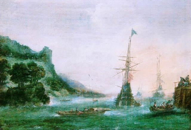 marine avec vaisseaux près du rivage by andries van artvelt (ertvelt)