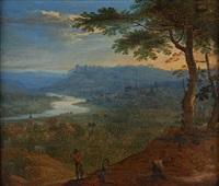 conversation sur fond de paysage avec rivière et château by lucas van uden