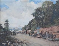 the new road from anniesland to bowling- under construction by archibald kay
