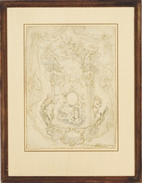 design for an architectural element with god the father and the holy spirit surrounded by saints and putti by italian school-genoa (18)