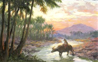 boy on carabao crossing a ford by fernando cueto amorsolo