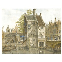 a town square with a fish market, a canal in the foreground by johannes huibert (hendric) prins
