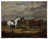 favorite hunters of richard william penn, 1st earl howe (1796-1870), with gopsall hall, leicestershire in the background by william webb