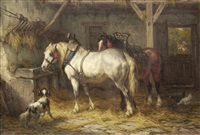 horses in a stable by willem jacobus boogaard