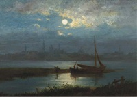 a moonlit river landscape with a town in the distance by jacobus theodorus abels