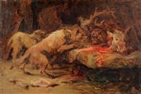 chiens et trophée de chasse by paul simons