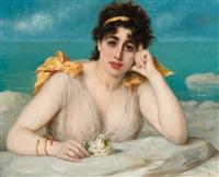 femme avec rose blanche devant la mer by léon herbo