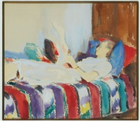 reading the sunday paper by joseph stella