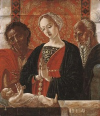 the madonna and child with saint john the baptist and another saint by antonio (da crevalcore) leonelli