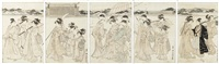pentaptych of a lady returning from the temple by utagawa toyokuni (toyokuni i)