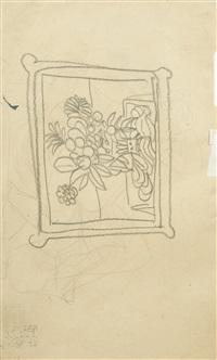 nu de femme, bouquet de fleurs (recto/verso) by andré derain