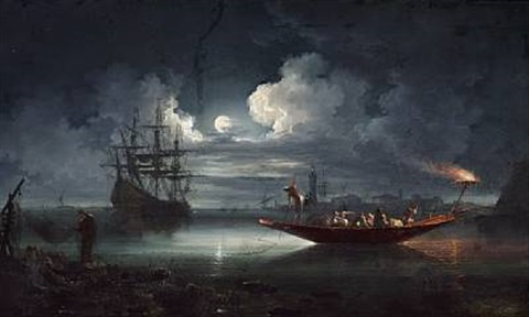 fishermen working in the light of the full moon by carlo bonavia