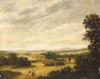 an extensive brazilian landscape with natives carrying baskets and a farmhouse by a pool by frans jansz post
