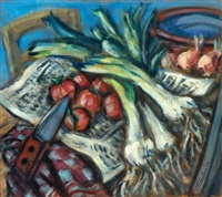still life with leek and tomatoes by herbert fiedler