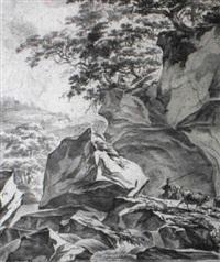 rocky landscape with a herdsman by hendrick danckerts