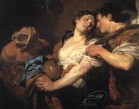 repentant sinner turning away from temptation and offered a palm by johann liss