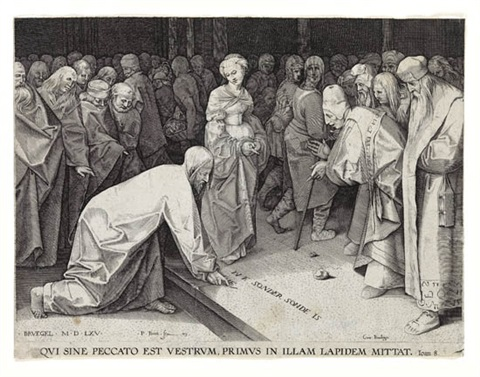 christ and the adulteress by pieter brueghel the elder
