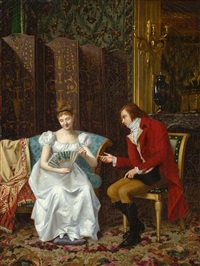 the courting couple by félix augustin milius