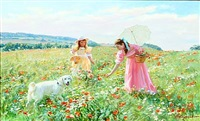 two girls picking flowers by aleksandr averin
